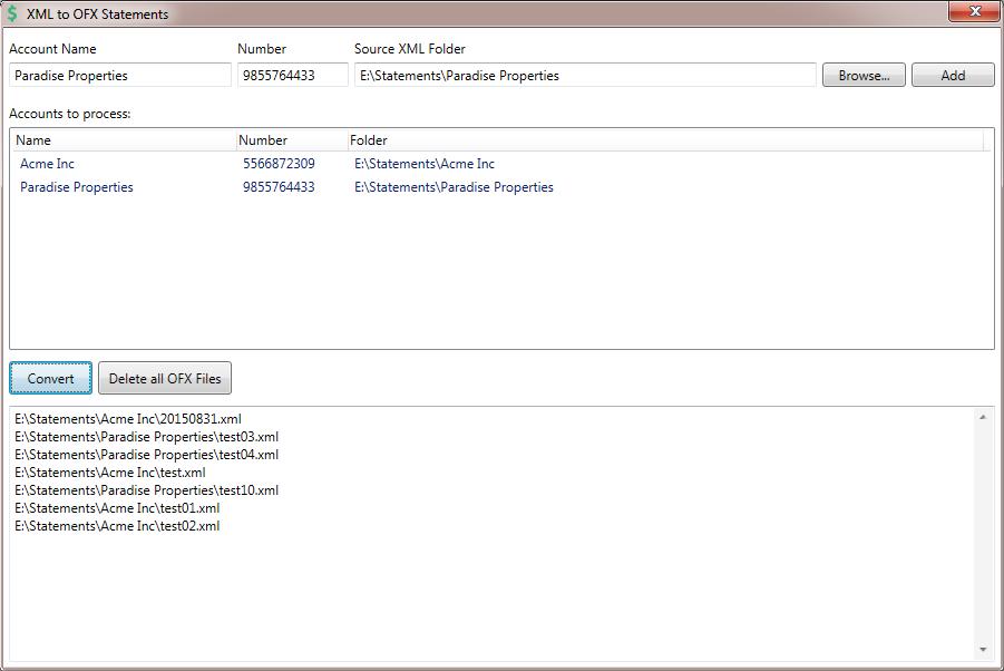 XML to OFX Converter